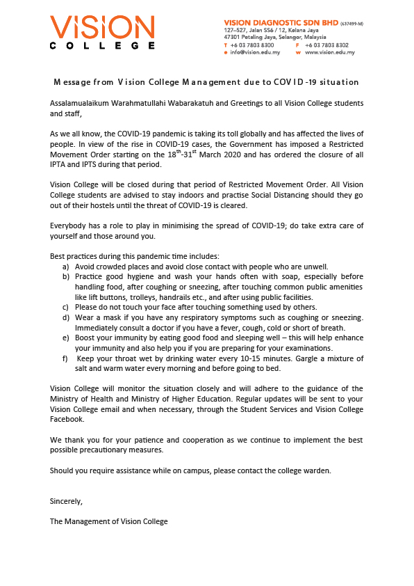 Message to staff and students-COVID19-01