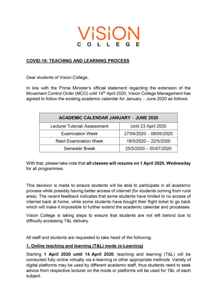 Official Announcement on Teaching and Learning-01